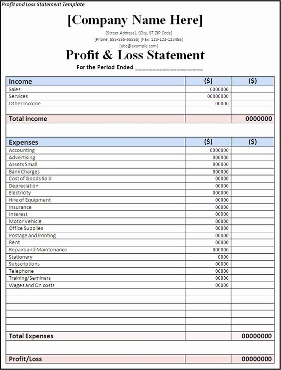 Free Profit Loss Template Luxury Profit and Loss Statement Template Free