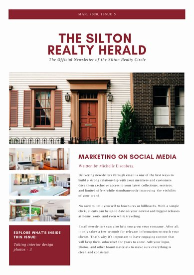Free Real Estate Newsletter Templates Beautiful Customize 33 Real Estate Newsletter Templates Online Canva