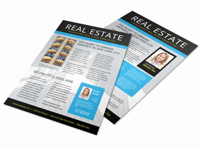 Free Real Estate Newsletter Templates Best Of Blue Real Estate Newsletter Template