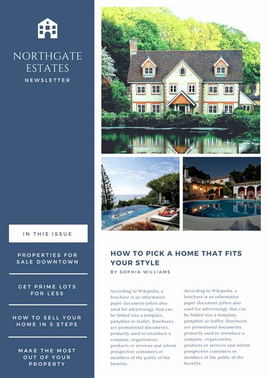 Free Real Estate Newsletter Templates Luxury Customize 84 Real Estate Newsletter Templates Online Canva