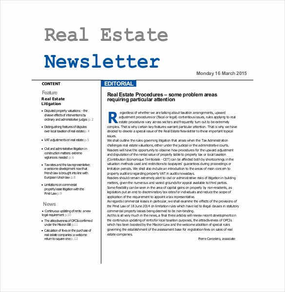 Free Real Estate Newsletter Templates Unique 9 Real Estate Newsletter Template Psd Pdf Documents