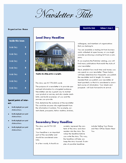 Free Real Estate Newsletter Templates Unique Free Real Estate Newsletter Template