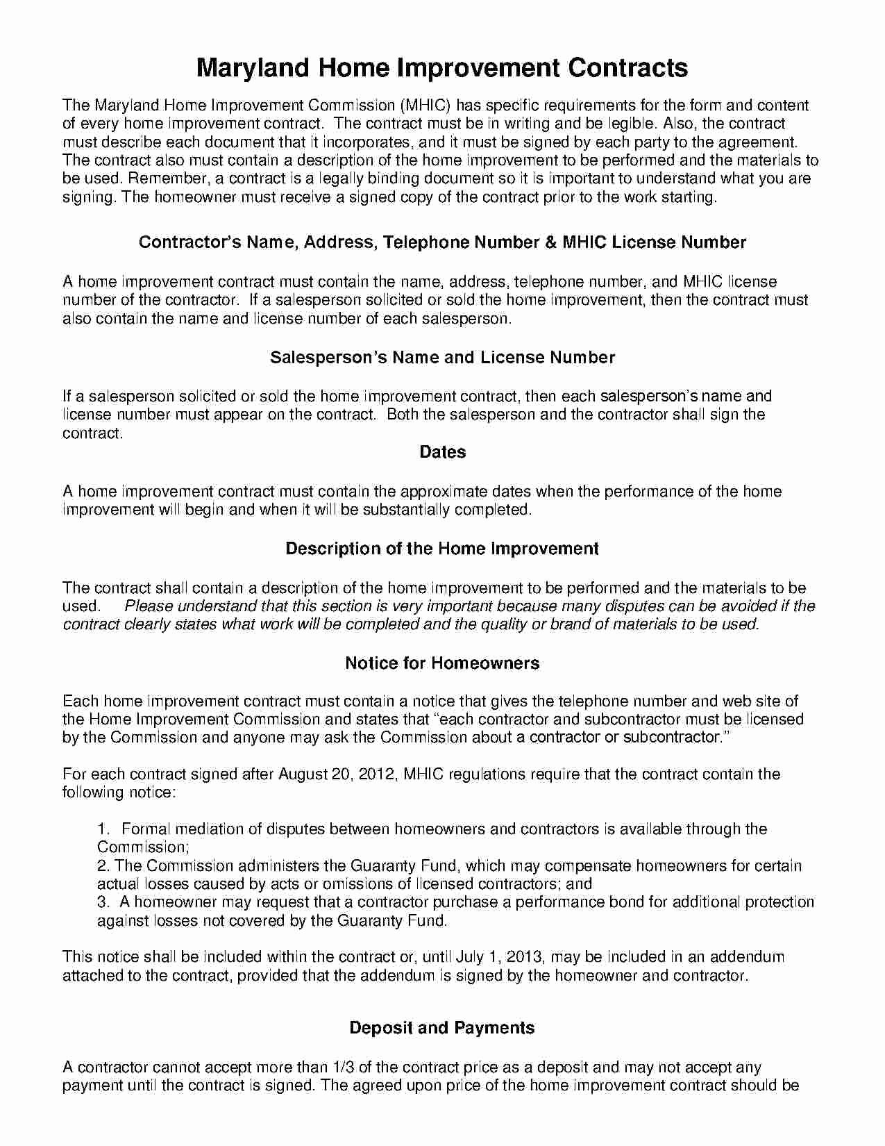 Free Remodeling Contract Template Beautiful Download Home Improvement Contract Style 18 Template for