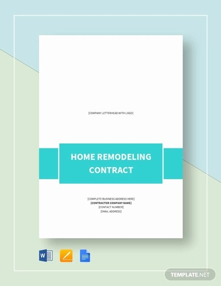 Free Remodeling Contract Template Best Of 10 Home Remodeling Contract Templates Word Docs Pages
