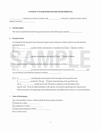 Free Remodeling Contract Template Luxury Free 9 Remodeling Contract Samples In Pdf