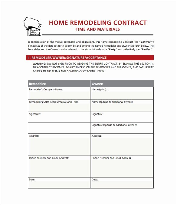 Free Remodeling Contract Template New 9 Home Remodeling Contract Templates Word Pages Docs