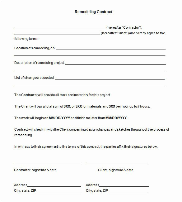 Free Remodeling Contract Template Unique 7 Remodeling Contract Templates Free Download
