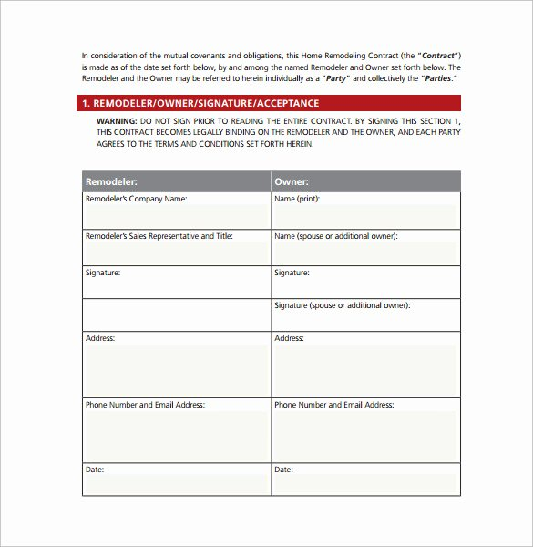 Free Remodeling Contract Template Unique Remodeling Contract Template 9 Download Free Documents