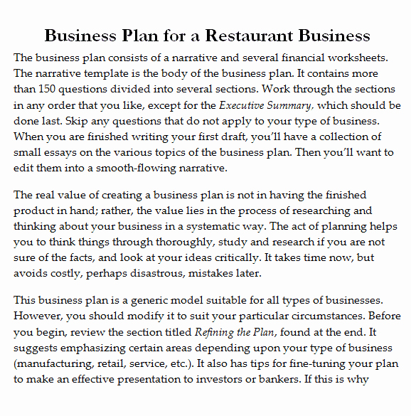 Free Restaurant Business Plan Template New 32 Free Restaurant Business Plan Templates In Word Excel Pdf