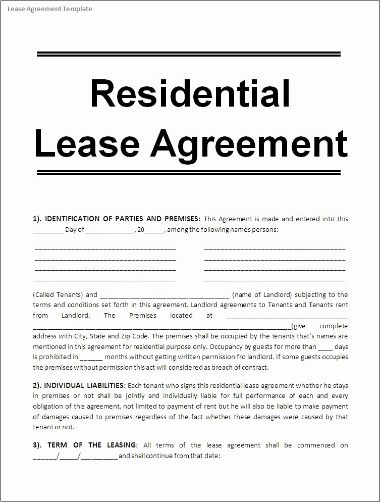 Free Room Rental Agreement Template Best Of Printable Sample Free Lease Agreement Template form