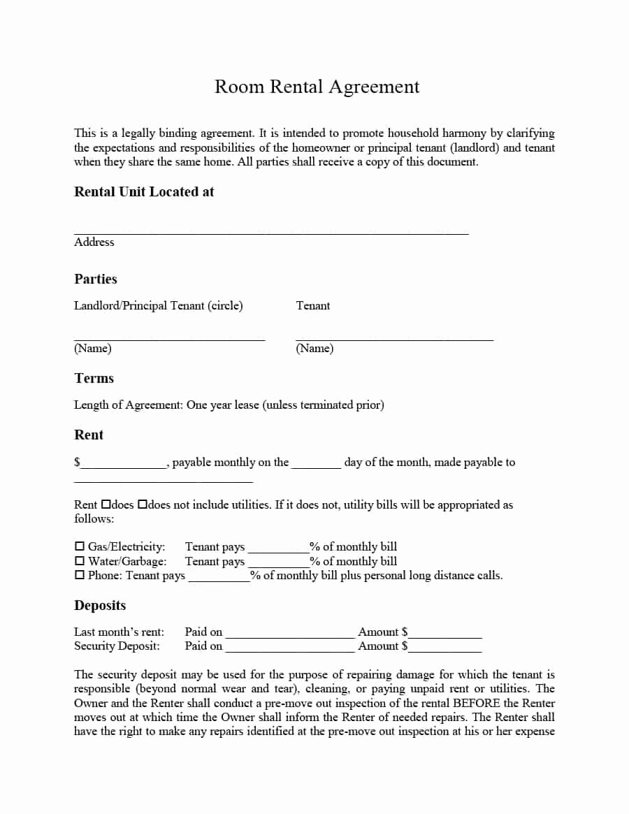 Free Room Rental Agreement Template Fresh 39 Simple Room Rental Agreement Templates Template