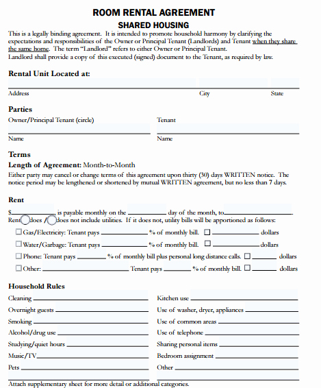 Free Room Rental Agreement Template New 5 Room Rental Agreement form Templates Free Sample Templates