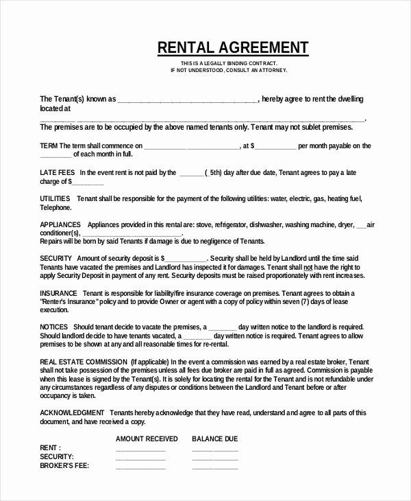 Free Room Rental Agreement Template Unique Simple E Page Mercial Rental Agreement Pdf Free