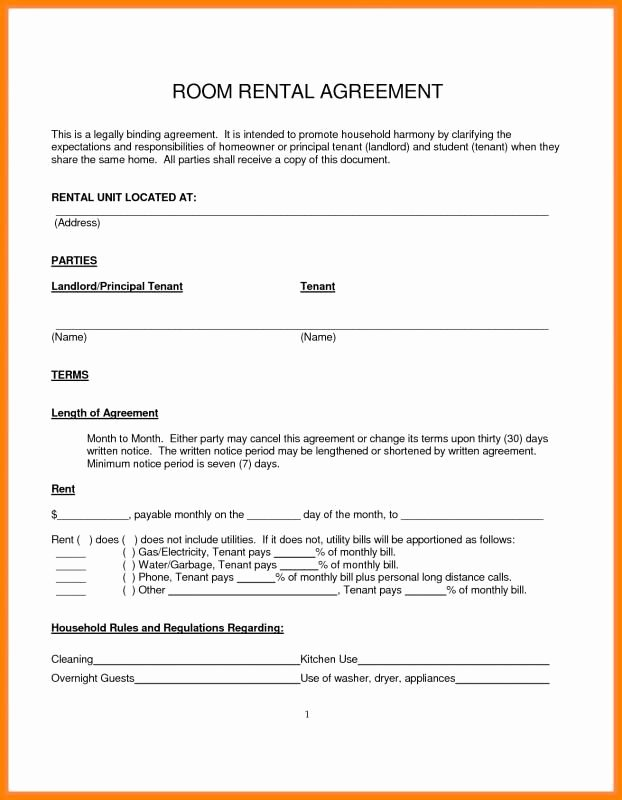 Free Room Rental Agreement Template Unique Simple Month to Month Rental Agreement In 2019