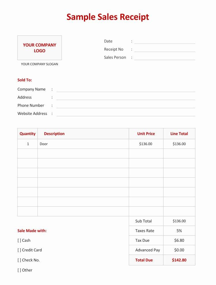Free Sale Receipt Template Luxury 12 Free Sales Receipt Templates Word Excel Pdf