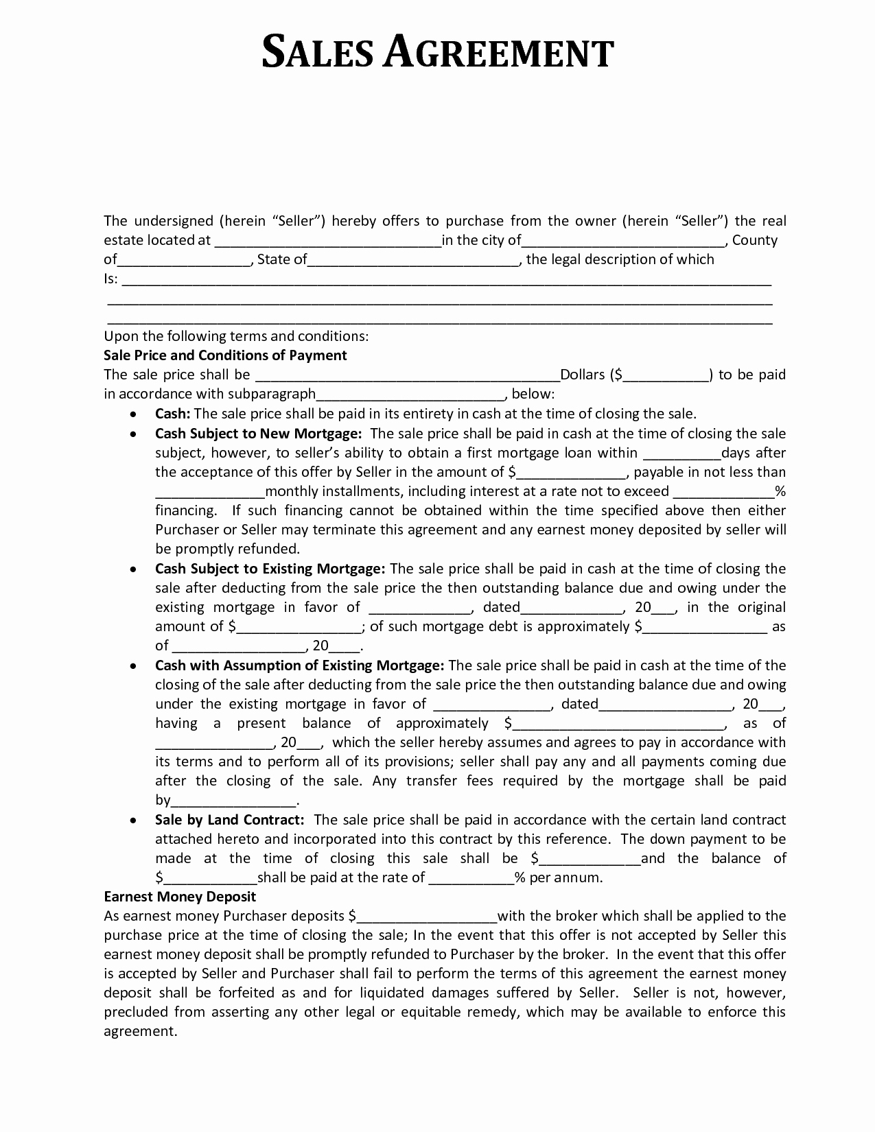 Free Sales Agreement Template Awesome Sales Contract Template