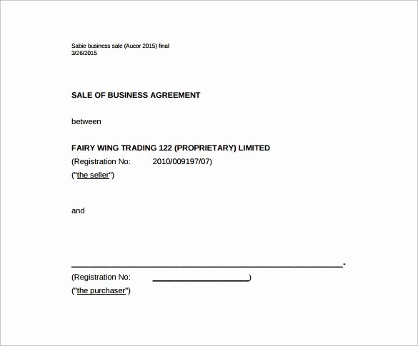 Free Sales Agreement Template Inspirational Business Sale Agreement Template Free Download