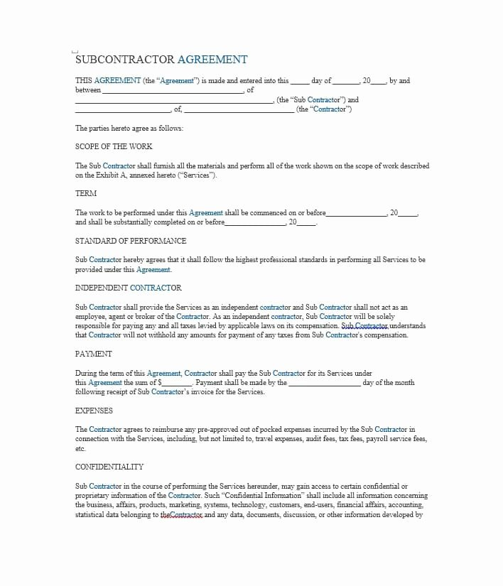 Free Subcontractor Agreement Template Beautiful Need A Subcontractor Agreement 39 Free Templates Here