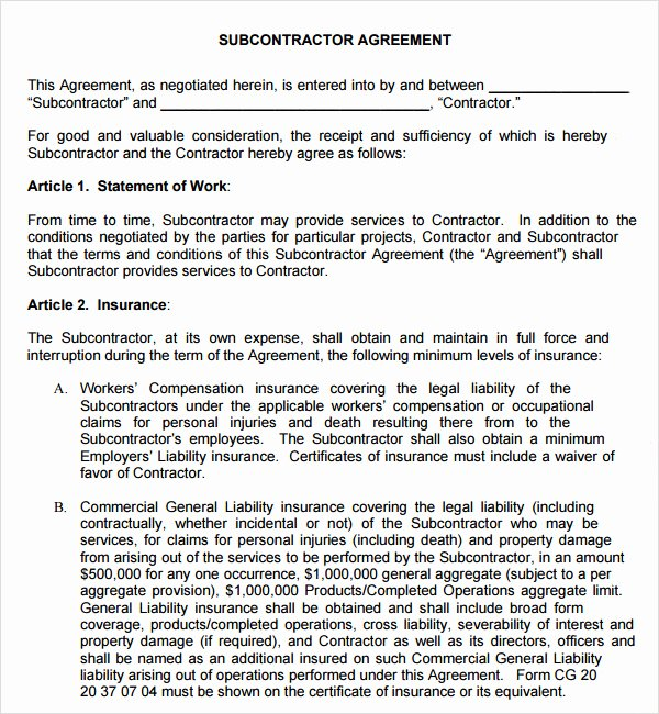Free Subcontractor Agreement Template Best Of Subcontractor Agreement Template