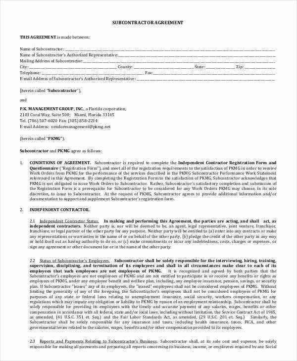 Free Subcontractor Agreement Template Elegant Simple Subcontractor Agreement form