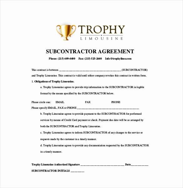 Free Subcontractor Agreement Template Elegant Subcontractor Agreement Template