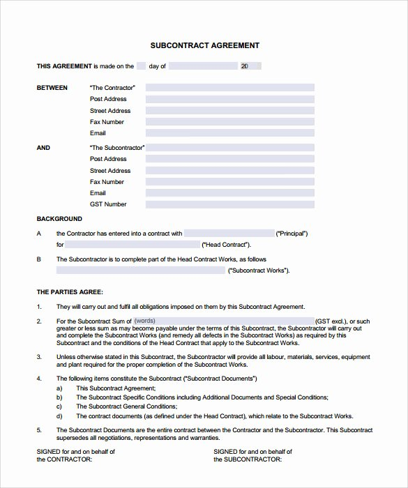 Free Subcontractor Agreement Template Fresh Free Contractor Agreement Template