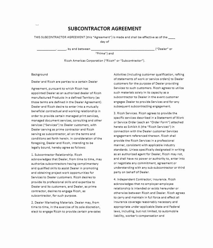 Free Subcontractor Agreement Template Fresh Need A Subcontractor Agreement 39 Free Templates Here