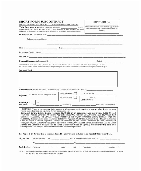 Free Subcontractor Agreement Template Fresh Sample Construction Agreement form 6 Documents In Pdf Word