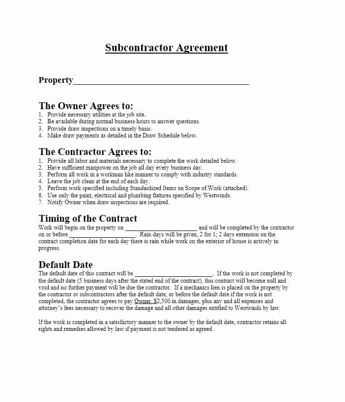 Free Subcontractor Agreement Template Inspirational Need A Subcontractor Agreement 39 Free Templates Here