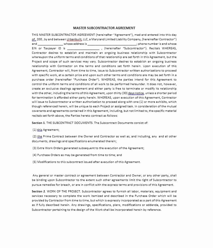 Free Subcontractor Agreement Template Lovely Need A Subcontractor Agreement 39 Free Templates Here