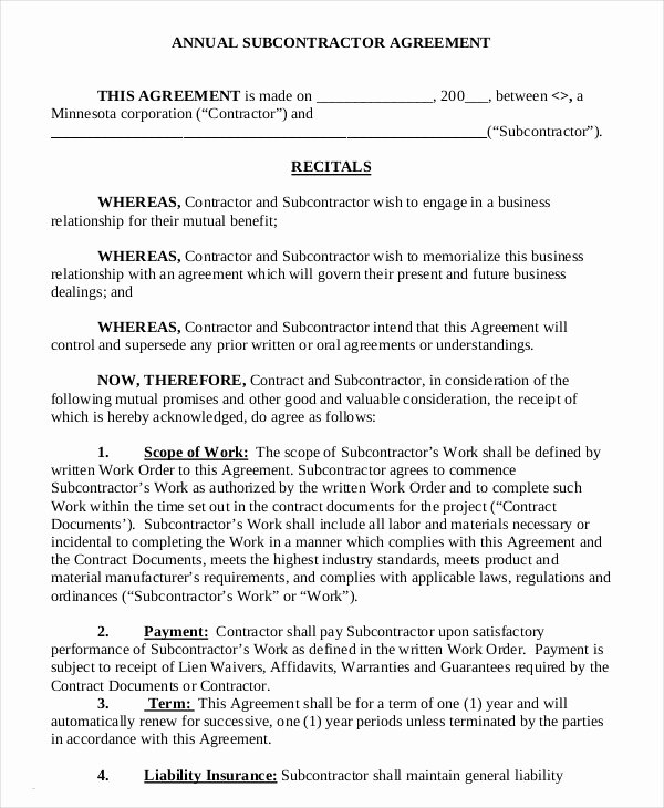 Free Subcontractor Agreement Template Luxury 12 Simple Subcontractor Agreement Templates Word Pdf