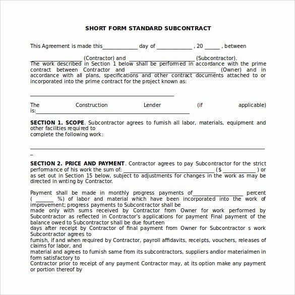 Free Subcontractor Agreement Template Luxury Sample Subcontractor Agreement 14 Documents In Pdf Word