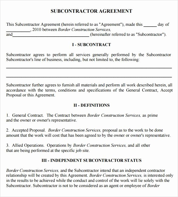 Free Subcontractor Agreement Template Luxury Sample Subcontractor Agreement – 7 Example format