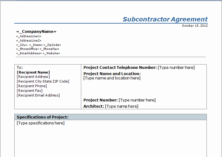 Free Subcontractor Agreement Template New Construction Subcontractor Agreement Template Free