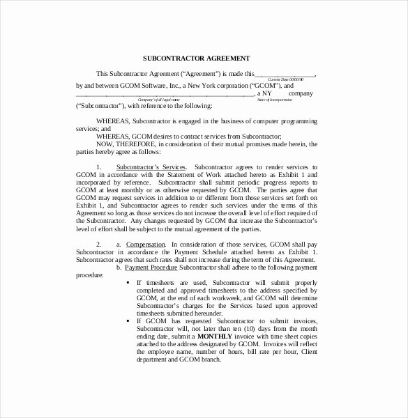 Free Subcontractor Agreement Template New Subcontractor Agreement format