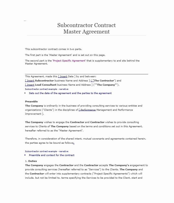 Free Subcontractor Agreement Template Unique Need A Subcontractor Agreement 39 Free Templates Here