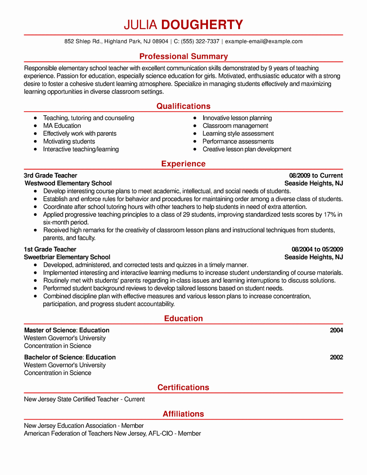 Free Teacher Resume Templates Beautiful 5 top Resume Samples Military to Civilian Employment