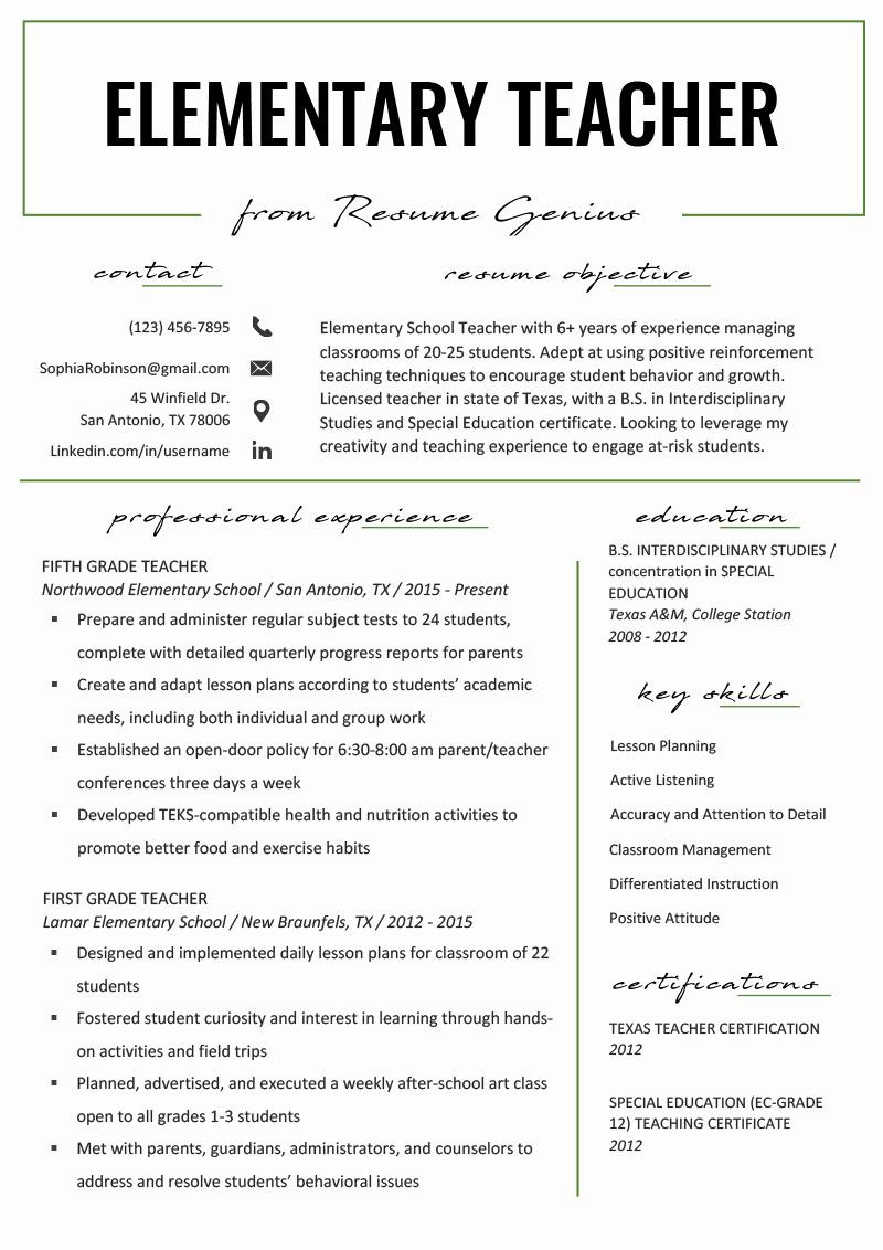 Free Teacher Resume Templates Best Of Elementary Teacher Resume Samples & Writing Guide