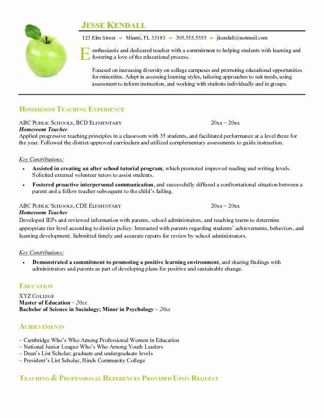 Free Teacher Resume Templates Elegant Example Of Resume format for Teacher Free Homeroom Teacher