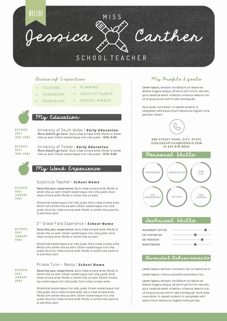 Free Teacher Resume Templates Luxury Resume Template Cv Template Cover Letter for Word 4