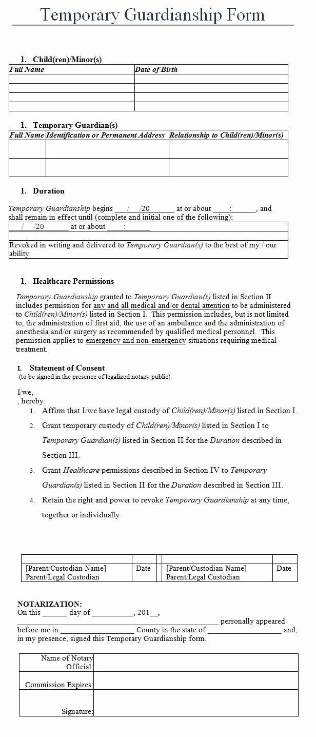 Free Temporary Guardianship form Template Awesome Temporary Guardianship form Template
