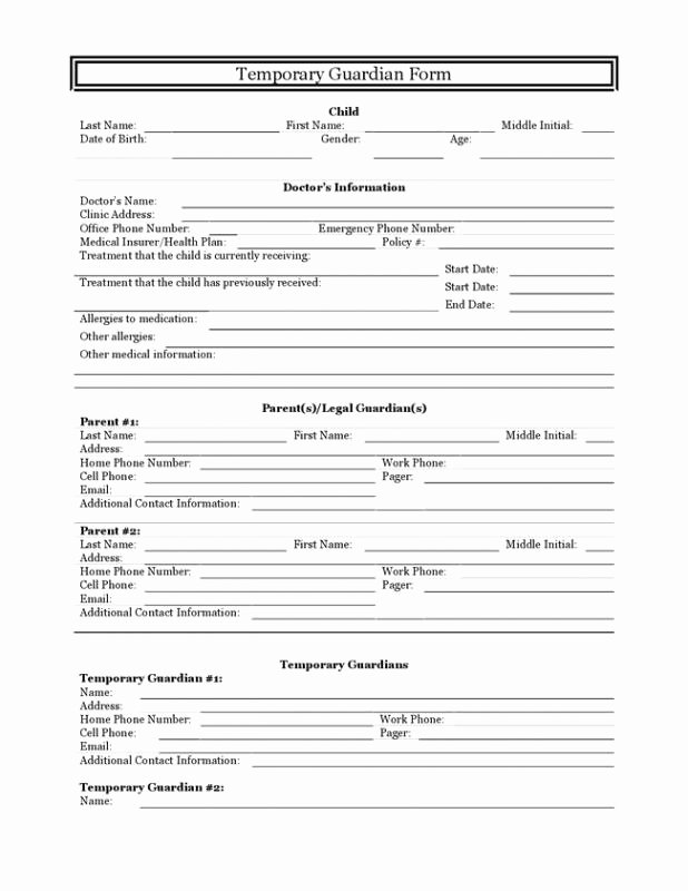 Free Temporary Guardianship form Template Beautiful Temporary Guardianship Template Seven Taboos About