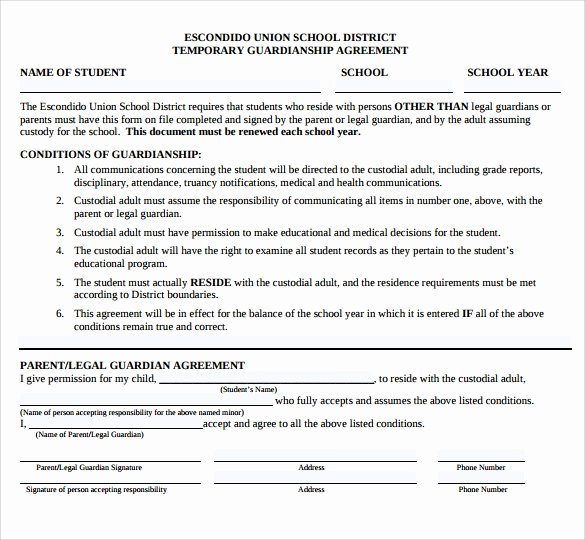 Free Temporary Guardianship form Template Best Of Sample Temporary Guardianship form 9 Download Documents