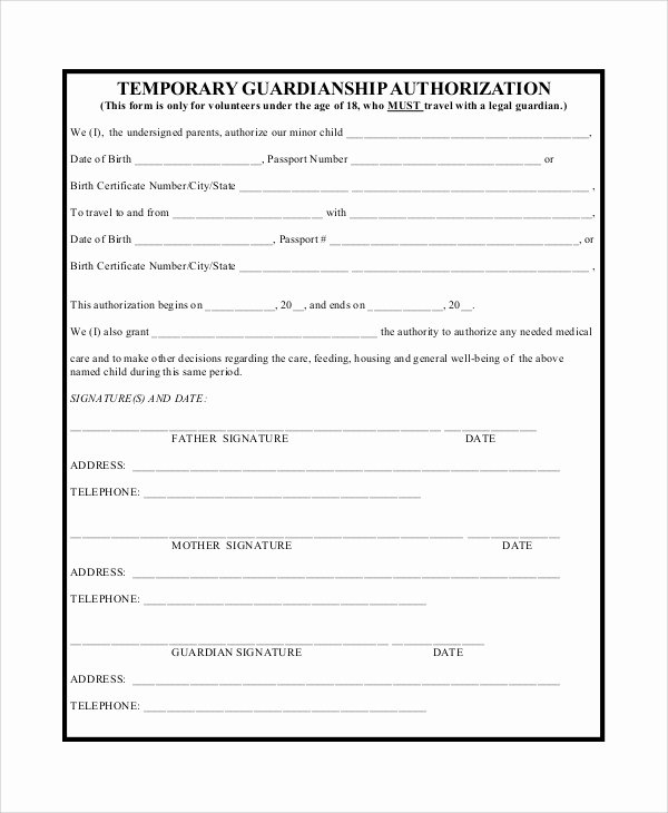 Free Temporary Guardianship form Template Best Of Temporary Guardianship Agreement form