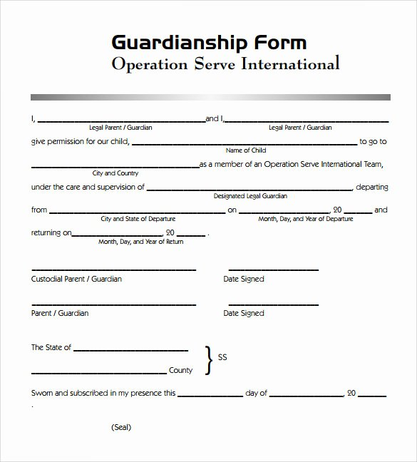 Free Temporary Guardianship form Template Lovely Sample Legal Guardianship form 7 Download Documents In