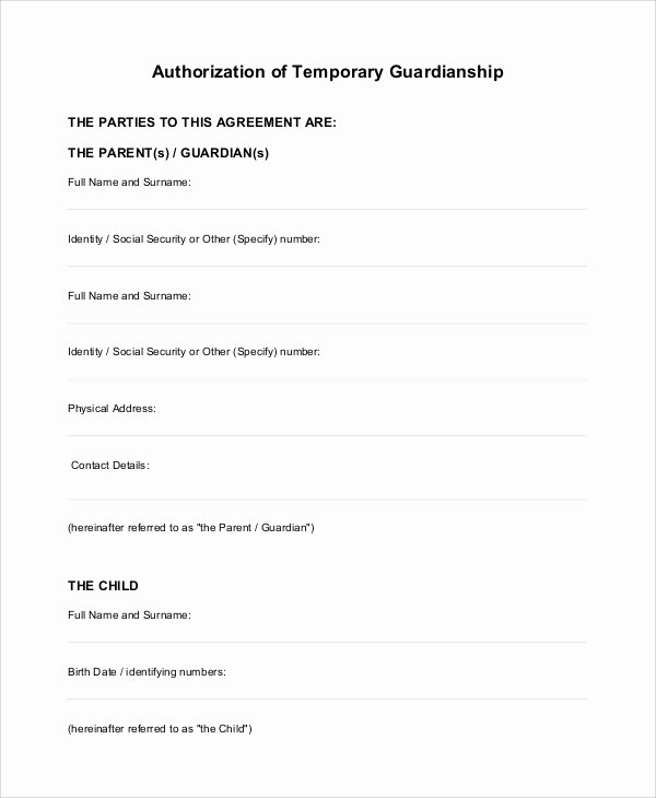 Free Temporary Guardianship form Template New 10 Sample Temporary Guardianship forms Pdf