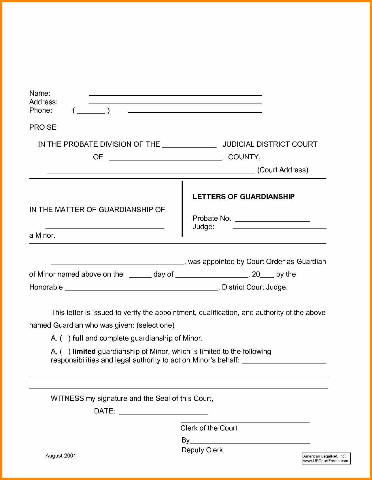 Free Temporary Guardianship form Template New Free Proof Residency Letter Template Samples