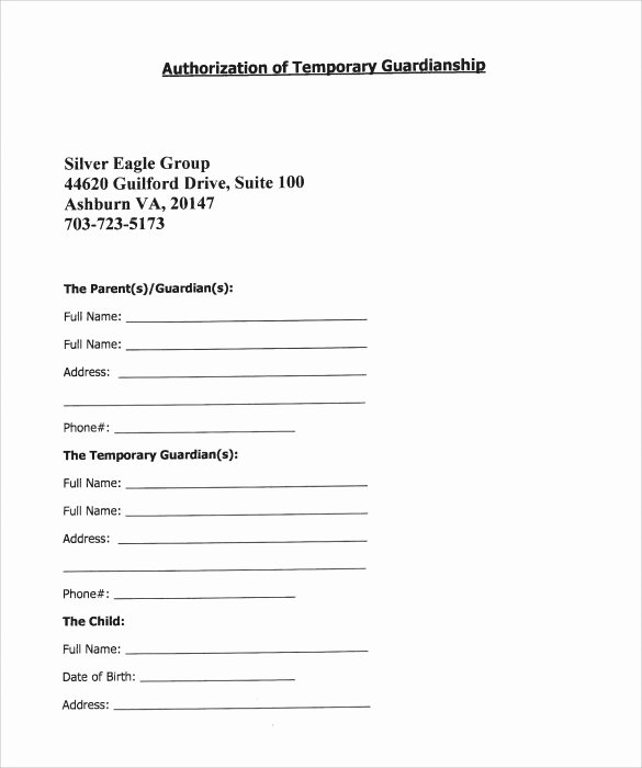 Free Temporary Guardianship form Template New Sample Temporary Guardianship form 8 Download Documents
