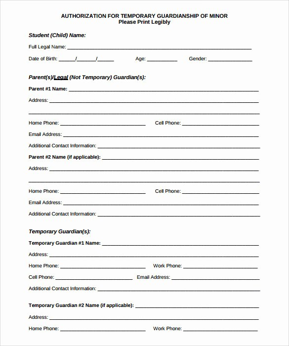 Free Temporary Guardianship form Template New Sample Temporary Guardianship form 9 Download Documents