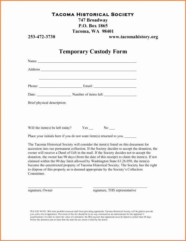 Free Temporary Guardianship form Template Unique Temporary Custody Agreement
